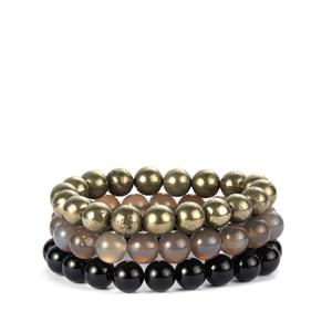 Black Onyx, Pyrite & Grey Agate Set of 3 Stretchable Bracelets ATGW 500cts