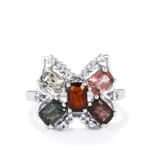 Burmese Multi-Colour Spinel & White Topaz Sterling Silver Ring ATGW 4.32cts