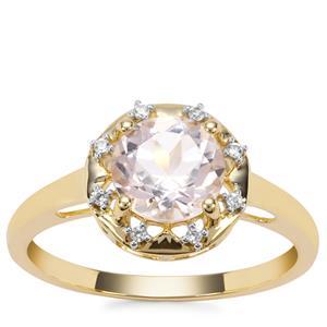 Alto Ligonha Morganite Ring with White Zircon in 9K Gold 1.24cts