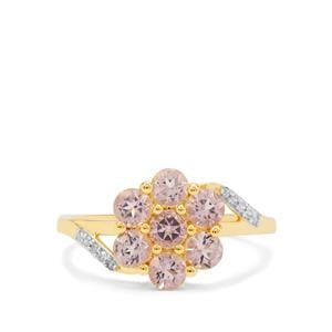 Cherry Blossom Morganite Ring with Diamond in 9K Gold 1.10cts
