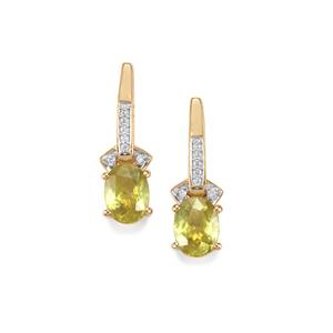 Ambilobe Sphene Earrings with Diamond in 18k Gold 3.42cts