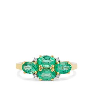 Ethiopian Emerald Ring with Diamond in 9K Gold 1.57cts