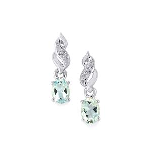 Pedra Azul Aquamarine Earrings with Diamond in Sterling Silver 1.33cts