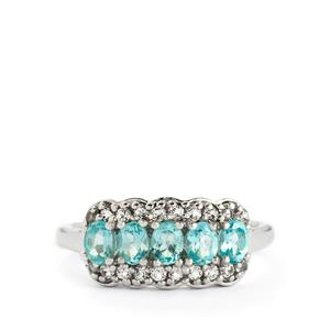Madagascan Blue Apatite & White Topaz Sterling Silver Ring ATGW 1.30cts