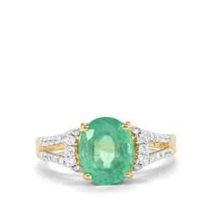 Ethiopian Emerald Ring with Diamond in 18k Gold 3.68cts