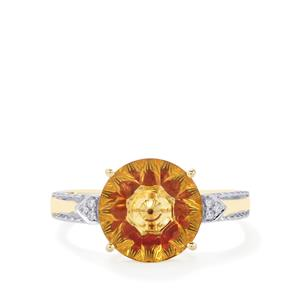 Lehrer KaleidosCut Diamantina Citrine, Malagasy Ruby Ring with Diamond in 9K Gold 2.79cts (F)
