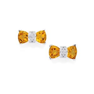 Cognac Quartz Earrings with White Topaz in Sterling Silver 3cts