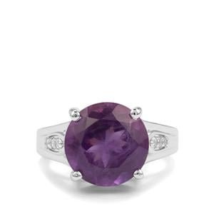 Zambian Amethyst & White Topaz Sterling Silver Ring ATGW 6.09cts