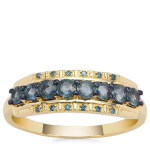 Nigerian Blue Sapphire Ring with Blue Diamond in 9K Gold 0.97cts