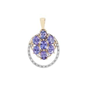 Tanzanite Pendant with White Zircon in 9K Gold 3.31cts