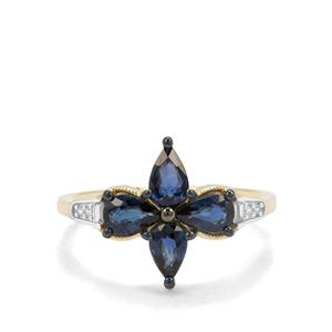Nigerian Blue Sapphire Ring with White Zircon in 9K Gold 1.43cts