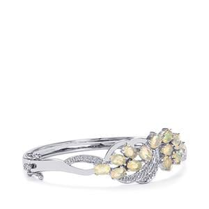 Ethiopian Opal Oval Bangle with Diamond in Sterling Silver 3.97cts