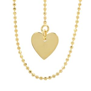 "22"" Midas Diamond Cut Heart Charm Slider Ball Chain 2.39g"