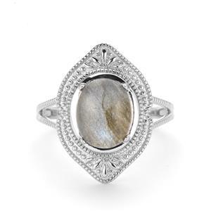 3.32ct Paul Island Labradorite Sterling Silver Ring