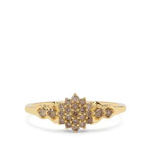 Champagne Diamond Ring in 9K Gold 0.36ct
