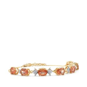 Oregon Sunstone Bracelet with Diamond in 18K Gold 7.87cts