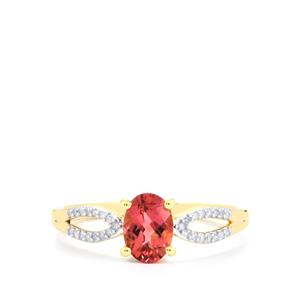 Natural Pink Tourmaline Ring with Diamond in 10k Gold 0.84ct
