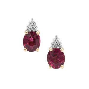 Comeria Garnet Earrings with White Zircon in 9K Gold 1.90cts