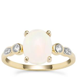 Ethiopian Opal Ring with White Zircon in 9K Gold 1.56cts