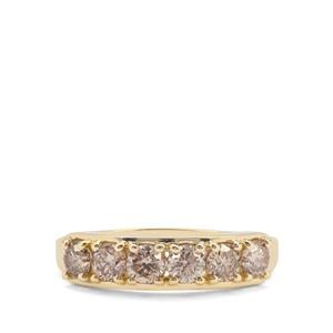 1ct Champagne Diamond 9K Gold Ring