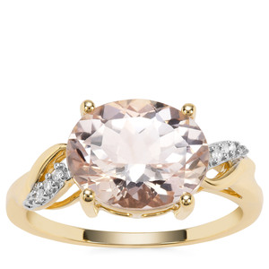 Rose Danburite Ring with Diamond in 9K Gold 3.32cts