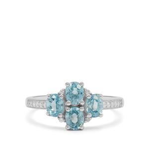 2.45ct Ratanakiri Blue & White Zircon Sterling Silver Ring