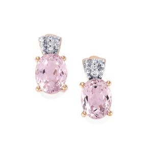Mawi Kunzite Earrings with White Zircon in 9K Rose Gold 5.35cts
