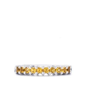 Yellow Tourmaline Ring with Diamond in Sterling Silver 0.46ct