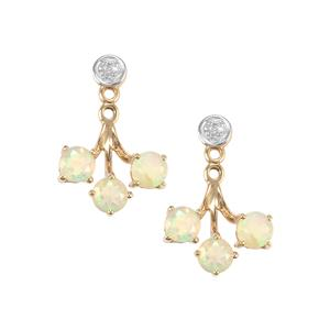 Ethiopian Opal Earrings with Diamond in 9K Gold 1cts