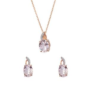 Alto Ligonha Morganite & White Zircon 9K Set of Pendant, Earrings and Chain ATGW 5.45cts