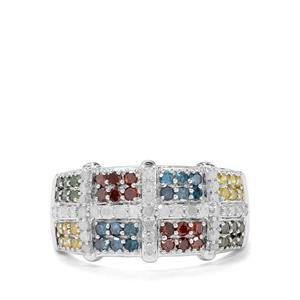 1ct Multi-Colour Diamond Sterling Silver Ring