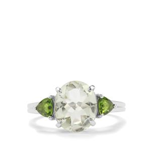 Prasiolite Ring with Chrome Diopside in Sterling Silver 3.74cts