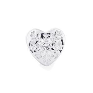 0.02ct White Topaz Sterling Silver Kama Heart Snowflake Charm