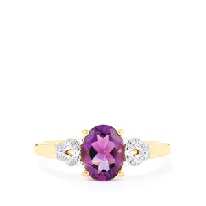 Kenyan Amethyst & Diamond 9K Gold Ring ATGW 1.16cts