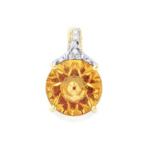 Lehrer KaleidosCut Diamantina Citrine, Malagasy Ruby Pendant with Diamond in 9K Gold 2.84cts (F)
