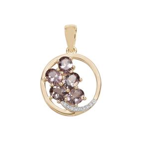 Mahenge Purple Spinel & Diamond 9K Gold Pendant ATGW 1.81cts