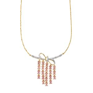 Sakaraha Pink Sapphire Necklace with Diamond in 10K Gold 4.22cts