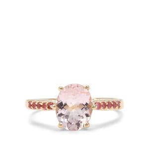 Nigerian Morganite Ring with Safira Tourmaline in 9K Gold 3.43cts