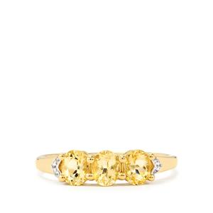 Ouro Preto Imperial Topaz Ring with White Zircon in 9k Gold 1.22cts