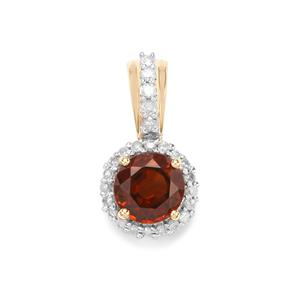 Capricorn Zircon Pendant with Diamond in 10k Gold 1.44cts