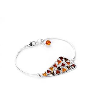 Baltic Cognac, Green Amber Bangle with Baltic Champagne Amber in Sterling Silver