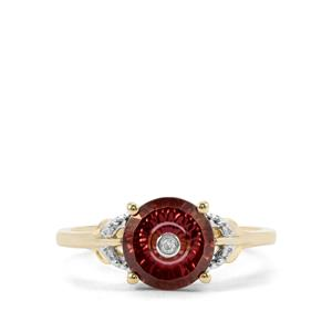 Lehrer TorusRing Zanzibar Zircon Ring with Diamond in 9K Gold 2.30cts