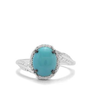 Sleeping Beauty Turquoise & White Zircon Sterling Silver Ring ATGW 2.18cts
