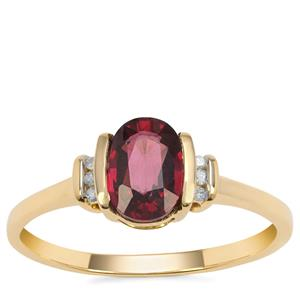 Malawi Garnet Ring with Diamond in 9K Gold 1.30cts