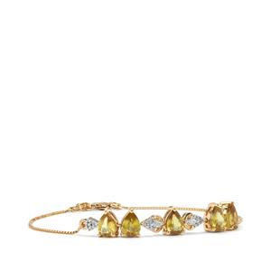 Ambilobe Sphene Bracelet with Diamond in 18K Gold 3.84cts