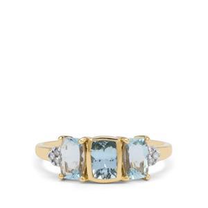 Santa Maria Aquamarine & Diamond 9K Gold Ring ATGW 1.35cts