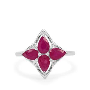 Kenyan Ruby Ring with White Zircon in Sterling Silver 2.30cts