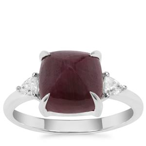 Sugarloaf Cut Ruby Ring with White Zircon in Sterling Silver 6.56cts