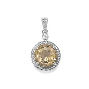 Bahia Rutilite Pendant with White Zircon in Sterling Silver 4.25cts