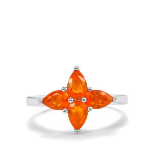Mexican Fire Opal Ring in Sterling Silver 0.97cts